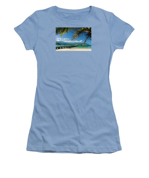 Hanalei Pier And Beach Women's T-Shirt (Athletic Fit)