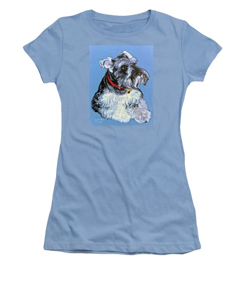 Women's T-Shirt (Junior Cut) featuring the painting Hans The Schnauzer Original Painting Forsale by Bob and Nadine Johnston