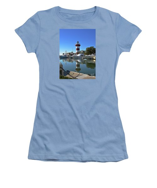 Harbor Town Lighthouse Women's T-Shirt (Junior Cut) by Carol  Bradley
