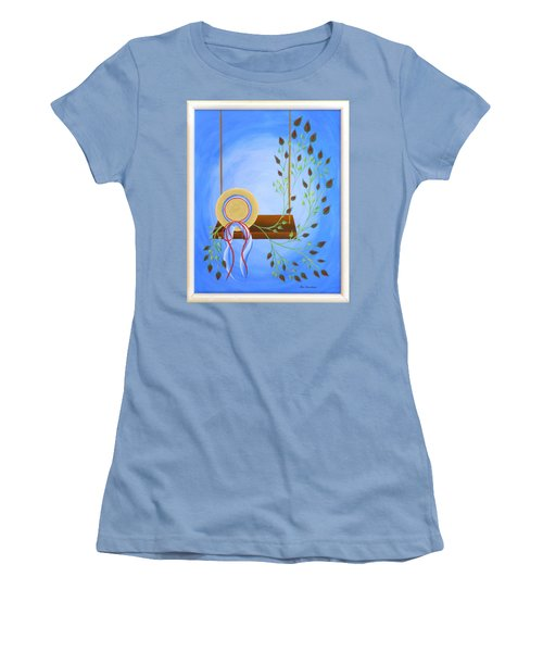 Women's T-Shirt (Junior Cut) featuring the painting Hat On A Swing by Ron Davidson