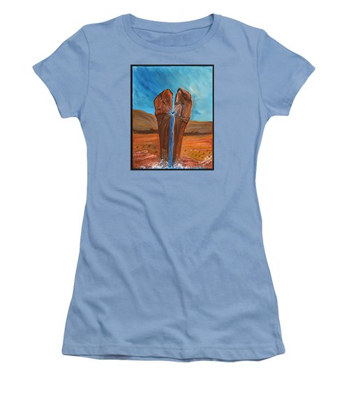 Women's T-Shirt (Junior Cut) featuring the painting He Is The Rock  by Cassie Sears