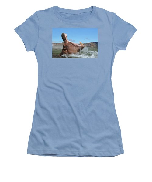 Hippopotamus Bursting Out Of The Water Women's T-Shirt (Athletic Fit)