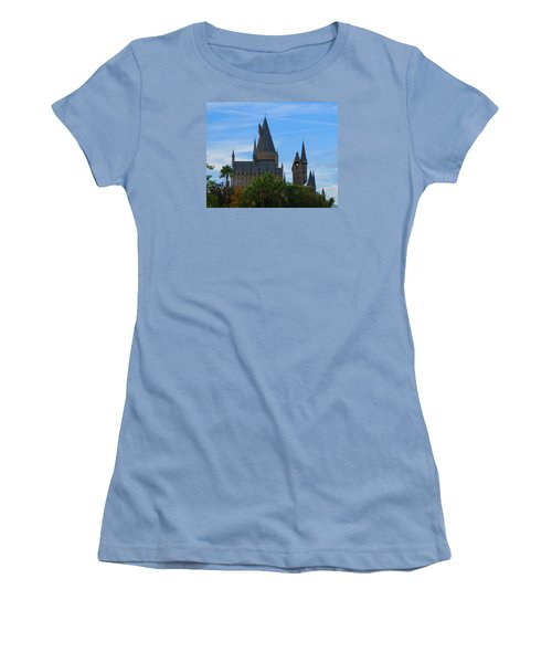 Hogwarts Castle With Towers Women's T-Shirt (Junior Cut) by Kathy Long