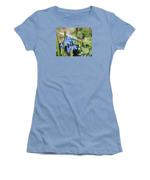 Honeybee In Flight Women's T-Shirt (Junior Cut) by Lucinda VanVleck