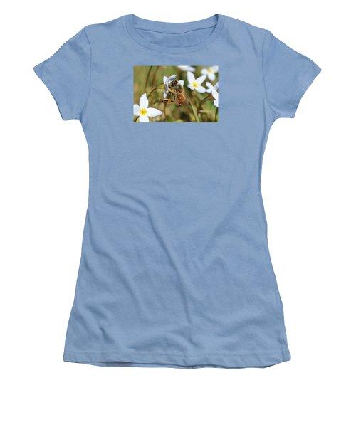 Honeybee On Bluet Women's T-Shirt (Junior Cut) by Lucinda VanVleck