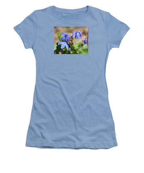 Honeybee On Siberian Squill Women's T-Shirt (Junior Cut) by Lucinda VanVleck