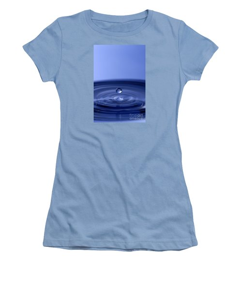 Hovering Blue Water Drop Women's T-Shirt (Junior Cut) by Anthony Sacco