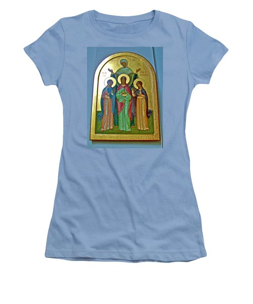 Icon Inside Chesme Church Built By Catherine The Great In Saint  Petersburg-russia Women's T-Shirt (Athletic Fit)