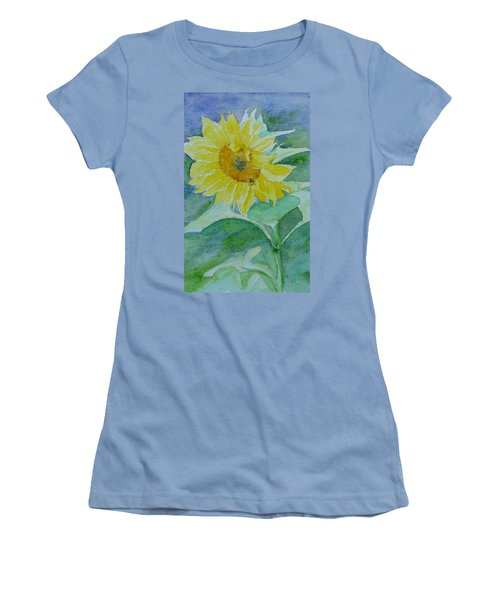 Inviting Sunflower Small Sunflower Art Women's T-Shirt (Athletic Fit)