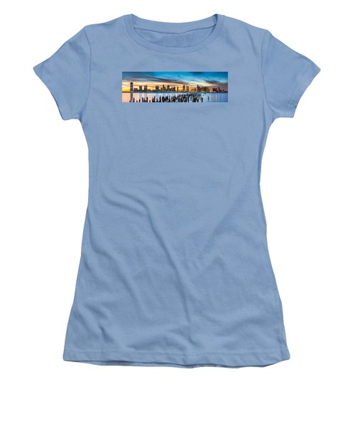 Jersey City Panorama At Sunset Women's T-Shirt (Junior Cut) by Mihai Andritoiu