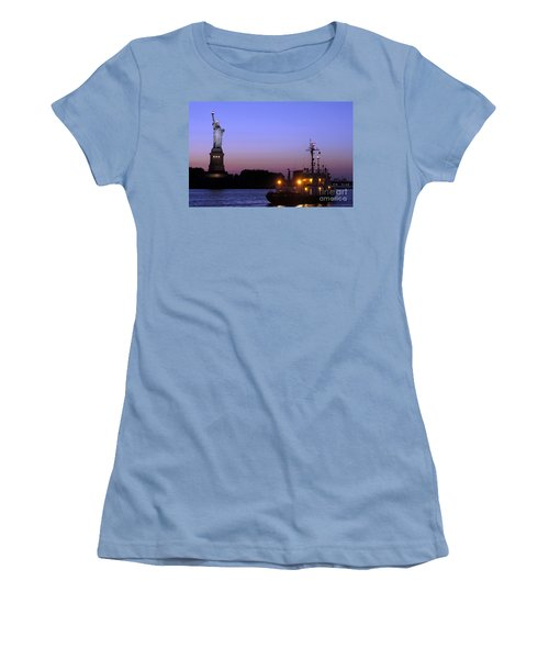 Women's T-Shirt (Junior Cut) featuring the photograph Lady Liberty At Dusk by Lilliana Mendez