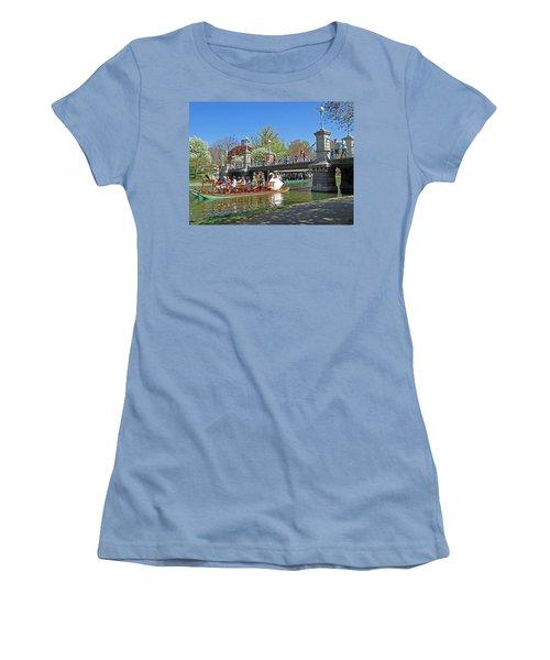 Lagoon Bridge And Swan Boat Women's T-Shirt (Junior Cut) by Barbara McDevitt