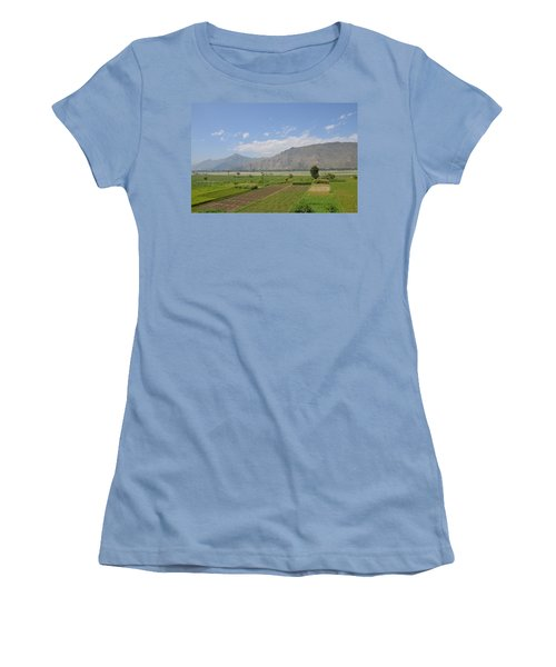 Women's T-Shirt (Junior Cut) featuring the photograph Landscape Of Mountains Sky And Fields Swat Valley Pakistan by Imran Ahmed