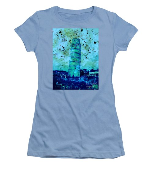 Leaning Tower Of Pisa 3 Blue Women's T-Shirt (Athletic Fit)