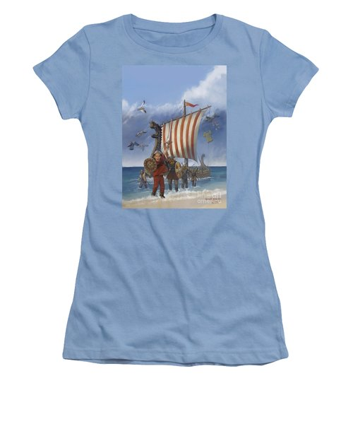 Women's T-Shirt (Junior Cut) featuring the painting Legendary Viking by Rob Corsetti