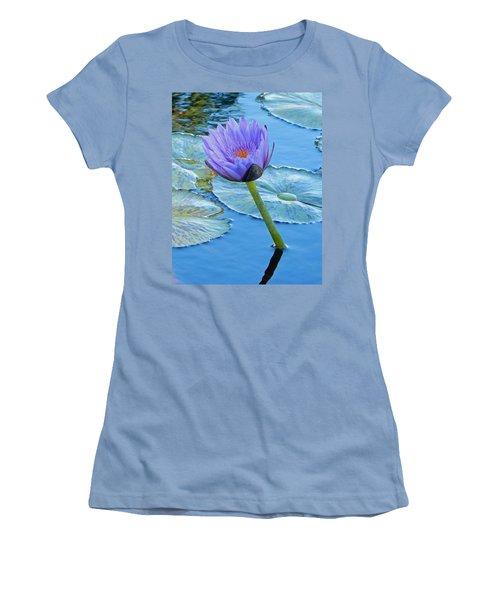 Light Purple Water Lily Women's T-Shirt (Junior Cut) by Pamela Walton