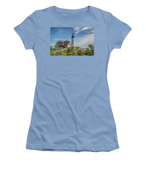 Lighthouse And Wild Roses Women's T-Shirt (Athletic Fit)