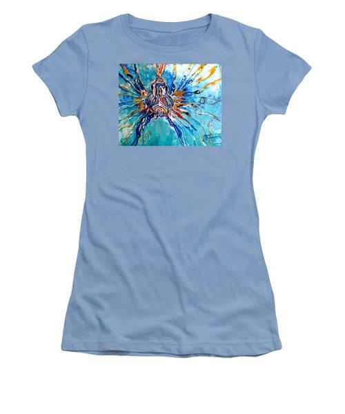 Lion Fish Blue Women's T-Shirt (Athletic Fit)