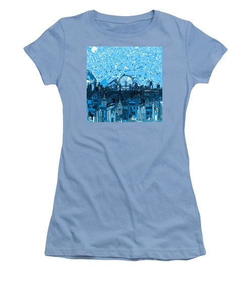 London Skyline Abstract Blue Women's T-Shirt (Athletic Fit)
