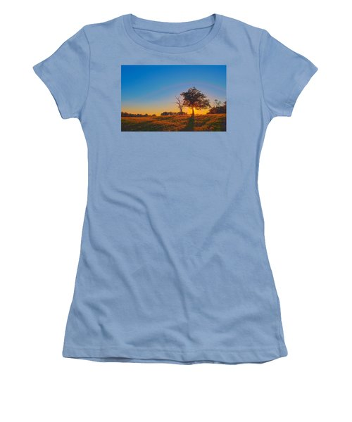 Women's T-Shirt (Junior Cut) featuring the photograph Lonely Tree On Farmland At Sunset by Alex Grichenko