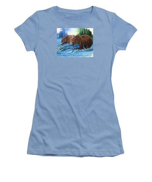 Women's T-Shirt (Junior Cut) featuring the painting Lunch Break by Sherry Shipley