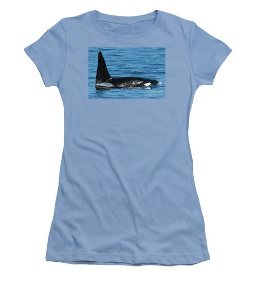 Women's T-Shirt (Junior Cut) featuring the photograph Lonesome George Ca165  Male Orca Killer Whale In Monterey Bay California 2013 by California Views Mr Pat Hathaway Archives