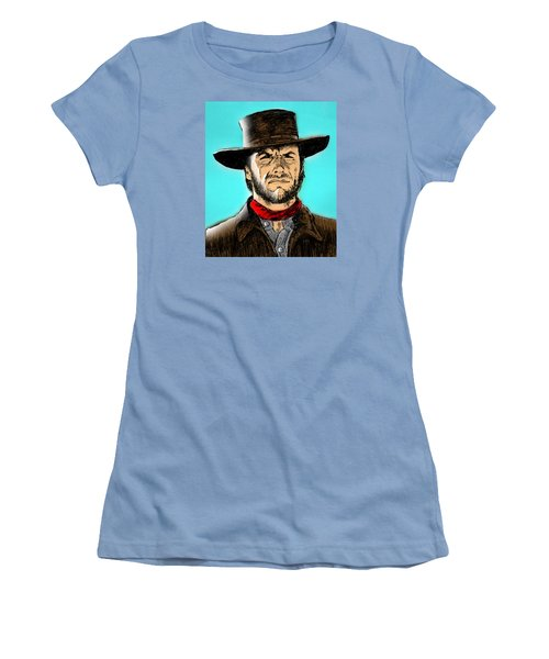Women's T-Shirt (Junior Cut) featuring the mixed media Clint Eastwood by Salman Ravish