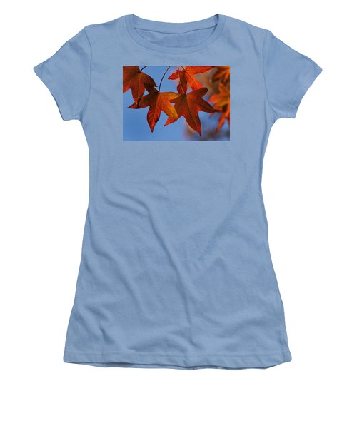 Women's T-Shirt (Junior Cut) featuring the photograph Maple Leaves In The Fall by Stephen Anderson