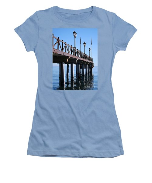 Women's T-Shirt (Junior Cut) featuring the photograph Marbella Pier Spain by Clare Bevan