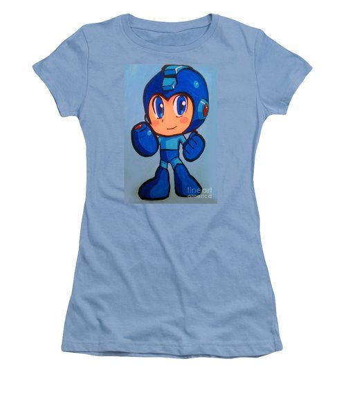 Women's T-Shirt (Junior Cut) featuring the painting Mega Man by Marisela Mungia