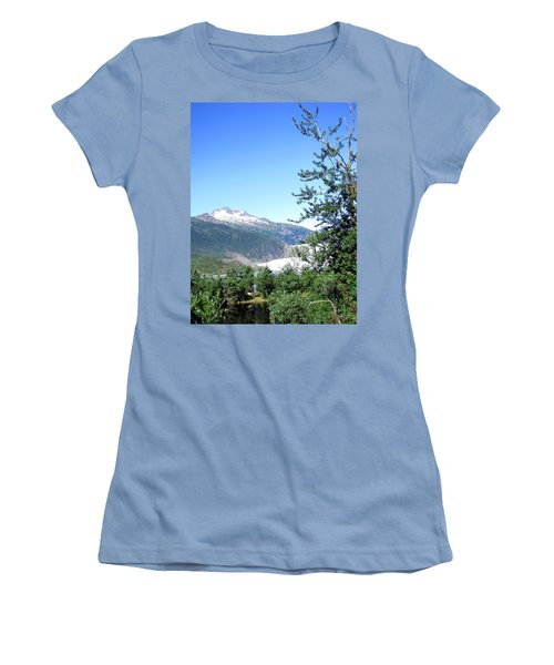 Women's T-Shirt (Junior Cut) featuring the photograph Mendenhall Glacier by Jennifer Wheatley Wolf