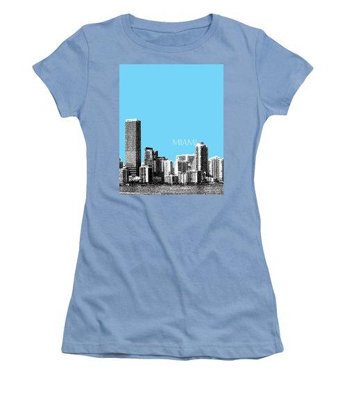 Miami Skyline - Sky Blue Women's T-Shirt (Athletic Fit)