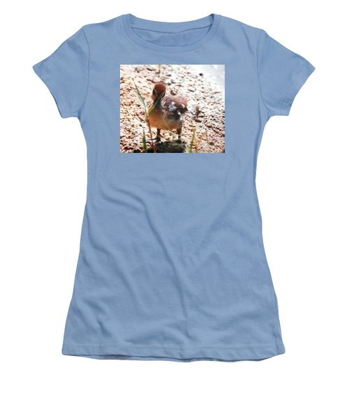 Women's T-Shirt (Junior Cut) featuring the photograph Duckling Searching by Belinda Lee