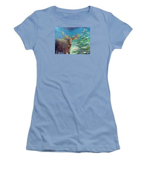 Moosey Christmas Women's T-Shirt (Junior Cut) by LeAnne Sowa