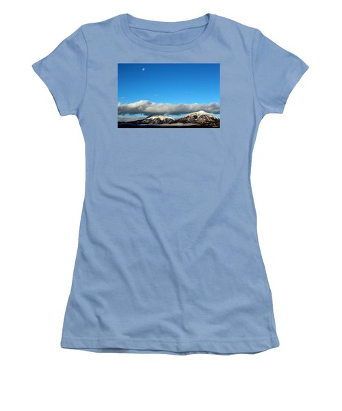 Women's T-Shirt (Junior Cut) featuring the photograph Morning Moon Over Spanish Peaks by Barbara Chichester