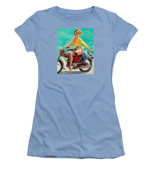 Motorcycle Pinup Girl Women's T-Shirt (Junior Cut) by Gil Elvgren