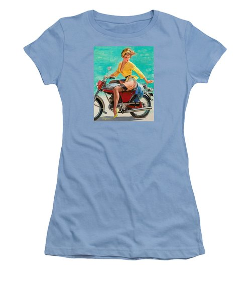 Motorcycle Pinup Girl Women's T-Shirt (Athletic Fit)