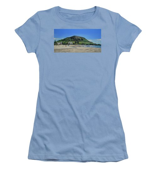 Women's T-Shirt (Junior Cut) featuring the painting Mount Maunganui Beach 151209 by Sylvia Kula