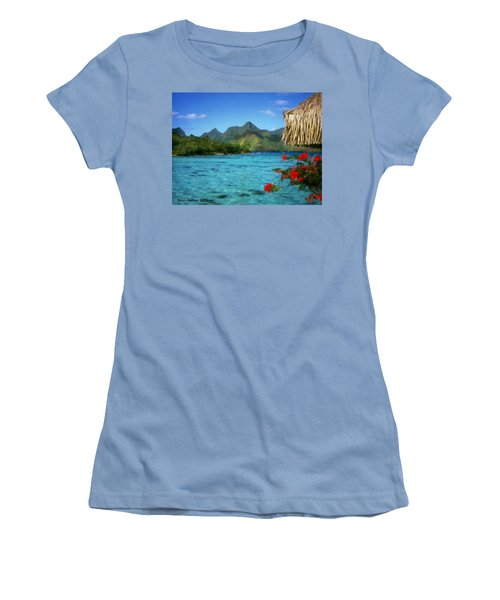 Women's T-Shirt (Junior Cut) featuring the painting Mountain Lake by Bruce Nutting
