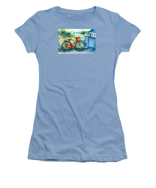 My Red Bicycle Women's T-Shirt (Junior Cut) by Trudi Doyle