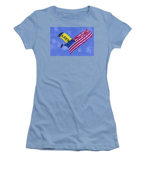 Navy Seal Leap Frogs Us Flag Women's T-Shirt (Athletic Fit)