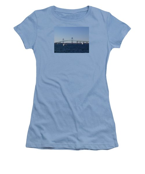 Newport Bridge Women's T-Shirt (Junior Cut) by Robert Nickologianis