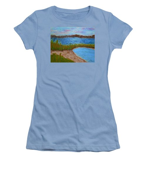 Women's T-Shirt (Athletic Fit) featuring the painting North Wildwood   New Jersey by Joan Reese