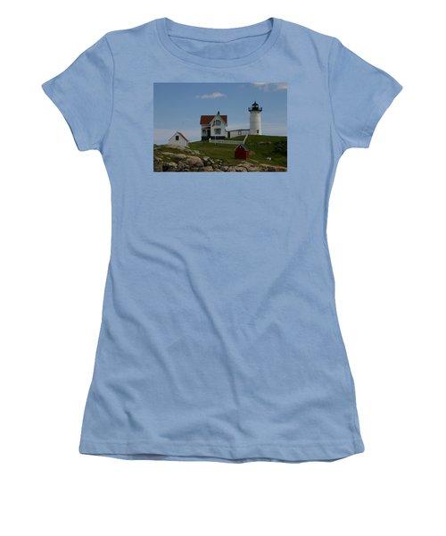 Women's T-Shirt (Junior Cut) featuring the photograph Nubble Light House York Maine by Denyse Duhaime