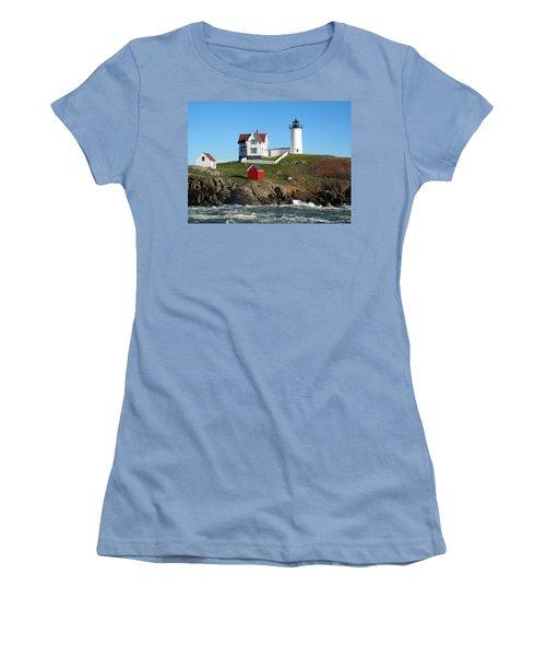 Nubble Lighthouse One Women's T-Shirt (Junior Cut) by Barbara McDevitt