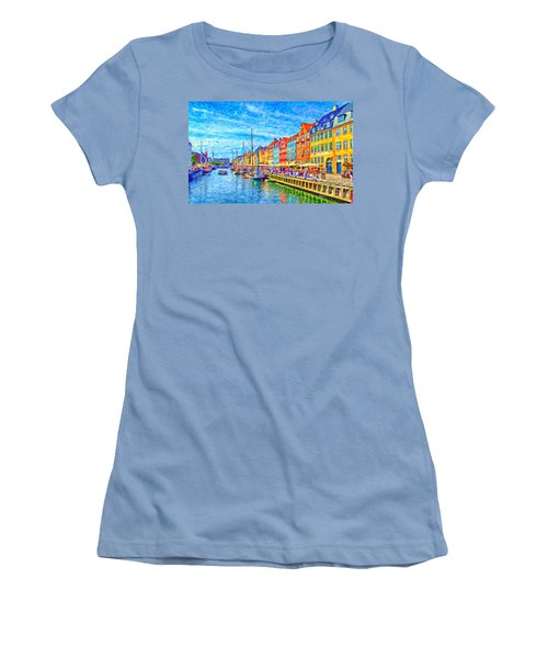 Nyhavn In Denmark Painting Women's T-Shirt (Athletic Fit)