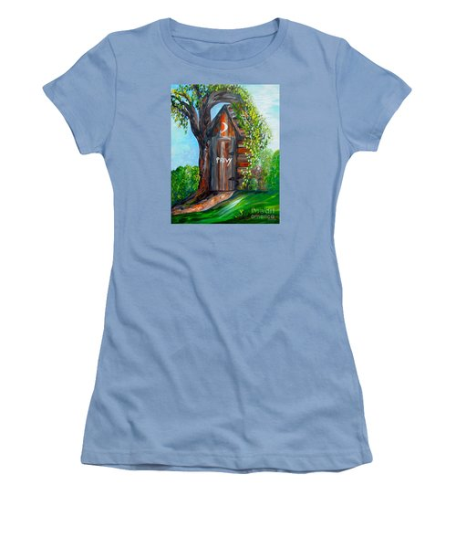 Women's T-Shirt (Junior Cut) featuring the painting Outhouse - Privy - The Old Out House by Eloise Schneider