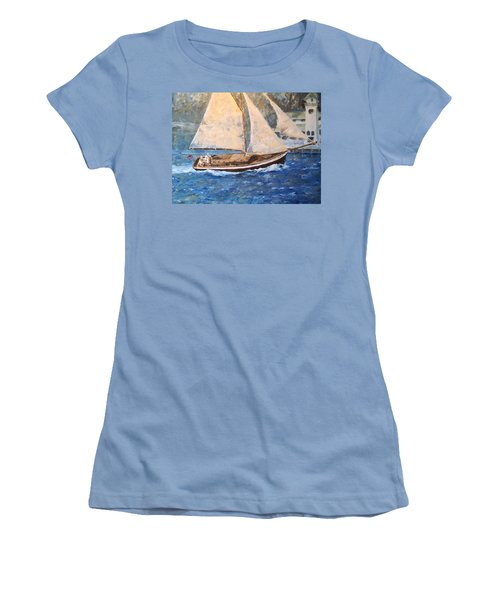 Patriot At Catalina Lighthouse Women's T-Shirt (Athletic Fit)