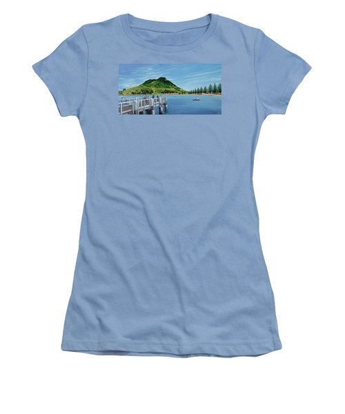 Women's T-Shirt (Junior Cut) featuring the painting Pilot Bay 280307 by Sylvia Kula