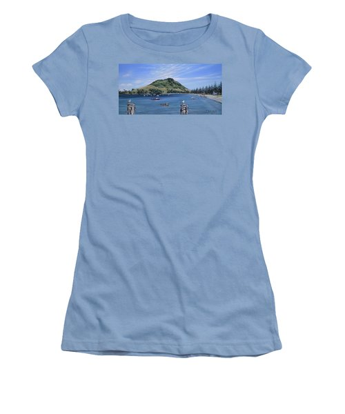 Women's T-Shirt (Junior Cut) featuring the painting Pilot Bay Mt M 291209 by Sylvia Kula
